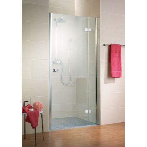 Porte de douche pivotante, verre 6 mm anticalcaire, profilé aspect chromé, MasterClass, Schulte, 120 x 200 cm, ouverture vers la droite - Transparent