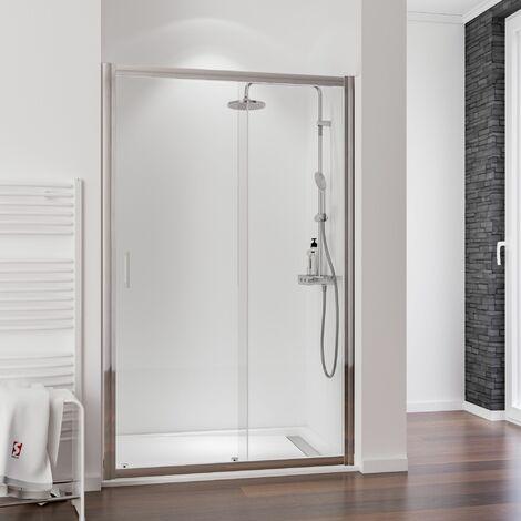 Porte de douche coulissante, verre 6 mm anticalcaire, profilé aspect chromé, Impériale, Schulte, 140 x 200 cm - Transparent