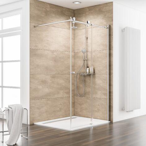 Paroi de douche à l'italienne coulissante, 120 x 200 cm, verre 8 mm, profilé aspect chromé, paroi Walk In MasterClass, Schulte - Transparent