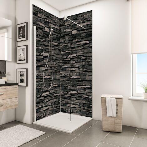 Lot de 2 panneaux muraux 100 x 210 cm + 3 profilés, revêtement pour douche et salle de bains, DécoDesign DÉCOR, Schulte, Parement ardoise - Parement ardoise