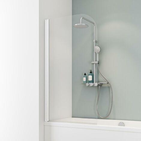 Pare-baignoire rabattable, 80 x 140 cm, verre 5 mm, paroi de baignoire 1 volet Capri, écran de baignoire pivotant Schulte, Verre transparent, profilé blanc - Transparent