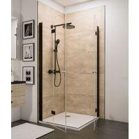 Accès d'angle droit avec portes de douche pivotantes-pliantes, verre 5 mm transparent anticalcaire, profilé noir, style industriel, Schulte, 80 x 80 x 192 cm