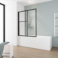 Pare-baignoire rabattable et coulissant, 70 - 118 x 140 cm, paroi de baignoire extensible 2 volets, Schulte style industriel, profilé noir, verre transparent 5 mm