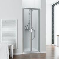 Porte de douche pliante, verre transparent, Phoenix II, Schulte, profilé alu nature, verre 3mm, 90 x 185 cm
