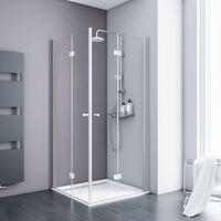 Accès d'angle droit avec portes de douche pivotantes-pliantes, verre 5 mm transparent anticalcaire, profilé aspect chromé, Schulte, 90 x 90 x 192 cm
