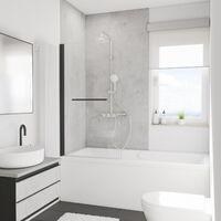 Pare-baignoire rabattable 80 x 140 cm, verre 5 mm anticalcaire, paroi de baignoire 1 volet, écran de baignoire pivotant, Capri Deluxe, Schulte, profilé noir