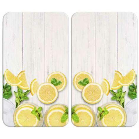 Plaque de Protection Cuisson en verre, Citrons, Lot de 2, 52x30 cm