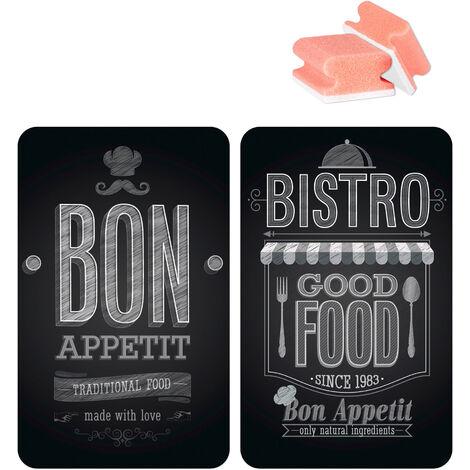 """WENKO Protection Plaque de cuisson, plaque de protection en verre """"Bon Appetit"""", 3en1, lot de 2 éponges offertes"""