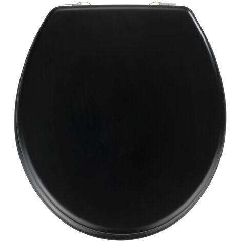 WENKO Abattant WC Prima noir mat, MDF, fixation en acier inox WENKO