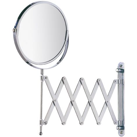Miroir grossissant mural à bras télescopique, x3, miroir maquillage double face, chromé WENKO