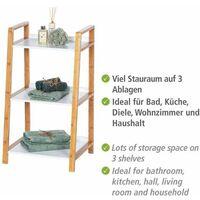 Étagère salle de bain bambou Finja, petit meuble de rangement salle de bain, 3 niveaux, H76 cm