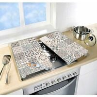 """Protection plaque de cuisson, cache plaque de cuisson en verre """"Carreaux de ciment"""", Lot de 2, 30 x 52 cm"""