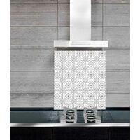 """Fond de hotte, crédence cuisine verre """"Carreau de ciment"""", 60x50 cm"""