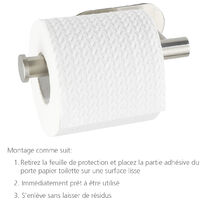 WENKO Support papier toilette mural sans percer, dérouleur papier toilette mural inox mat