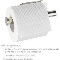 WENKO Support papier toilette mural sans percer, dérouleur papier toilette mural inox brillant