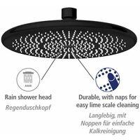 Pommeau de douche italienne, tête de douche effet pluie, 40% économie d'eau, ø225 mm, finition noir mat