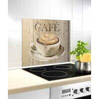 """Fond de hotte, crédence cuisine verre """"Café"""", 60x50 cm"""