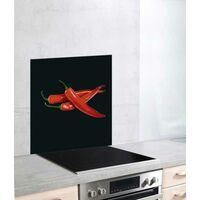 "Fond de hotte, crédence cuisine verre ""Hot Peperoni"", 60x70 cm"