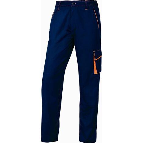 PANTALON DE TRAVAIL DELTA PLUS PANOSTYLE® POLYESTER COTON BLEU MARINE / ORANGE -M6PANBM0 - Taille vêtement - 42/44 (L) - Bleu marine/Orange