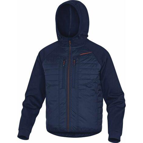 VESTE CAPUCHE BI MATIERE BLEU ORANGE DELTA PLUS - MOOVEMO0 - Taille vêtement - 42/44 (L) - Bleu Marine/Bleu Roi