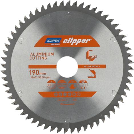 Lame carbure Aluminium 190x2.6/1.8x30 Z60 NORTON CLIPPER - 70184608135 -  -