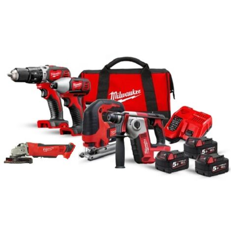 Pack 5 outils MILWAUKEE M18BPP5A-503A 18V 3x5Ah - 4933472243 - -