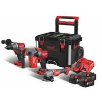 PACK 4 PRODUITS MILWAUKEE FUEL 18V + PACK OUT TROLLEY M18 FPP4D-503P - 4933479262 - -
