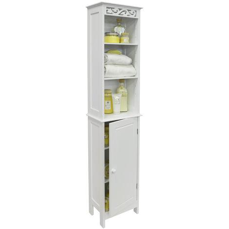 FLEUR - Floor Standing Tall Bathroom Storage Cupboard with Open Shelves - White