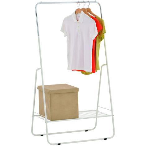 Open Wardrobe / Metal Clothes Rail with Shelf - Silver / White