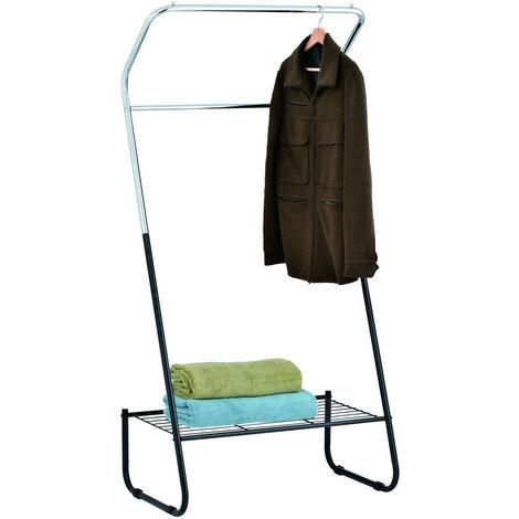 Open Wardrobe / Metal Clothes Rail with Shelf - Black / White
