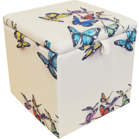 BUTTERFLY - Square Storage Ottoman Stool / Blanket Box Cube - Cream / Multi