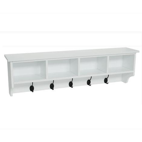 WATSONS - Hallway Wall Storage Shelf With Hooks - White
