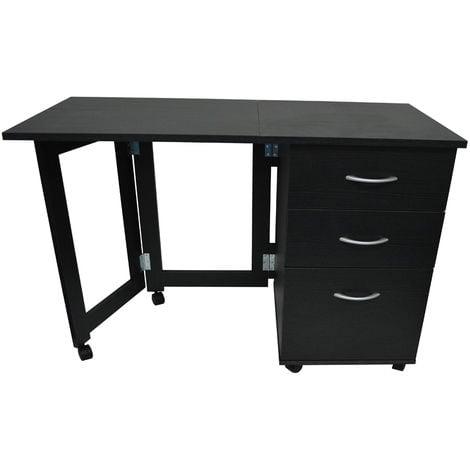 3 Drawer Folding Office Storage Filing, Black Desk With Shelves