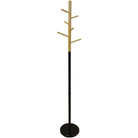 SCANDI - Wood and Metal Coat Rack with 6 Pegs - Natural / Black