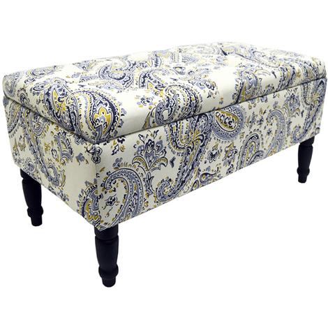 PAISLEY - Storage Ottoman Stool / Blanket Box / Padded Trunk - Blue / Black / Cream