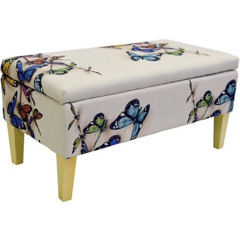BUTTERFLY - Storage Ottoman Stool / Blanket Box / Padded Trunk - Cream / Multi