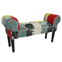 PLUSH PATCHWORK - Shabby Chic Chaise Pouffe Stool / Wood Legs - Blue / Green / Red