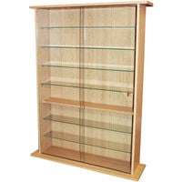 BOSTON - Glass Collectable Display Cabinet / 600 CD / 255 DVD Storage Shelves - Beech