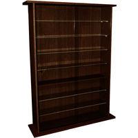 BOSTON - Glass Collectable Display Cabinet / 600 CD / 255 DVD Storage Shelves - Dark Oak