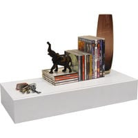 HIDDEN - 2ft / 60cm Floating Storage Shelf with Drawer - White