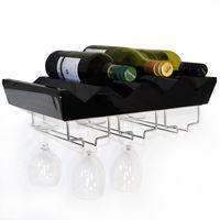 MONTEREY - 4 Bottle Wall Mounted Floating Wine Storage Shelf - Black