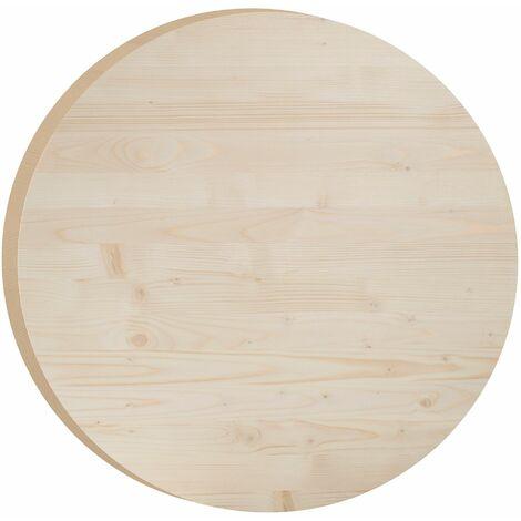 Plateau pour table ronde en pin massif 75 cm (3,5 cm d'épaisseur)