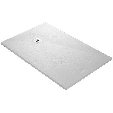 Receveur de douche en résine imitation ardoise 90 x 90 cm blanc + natte étanche + siphon 360°