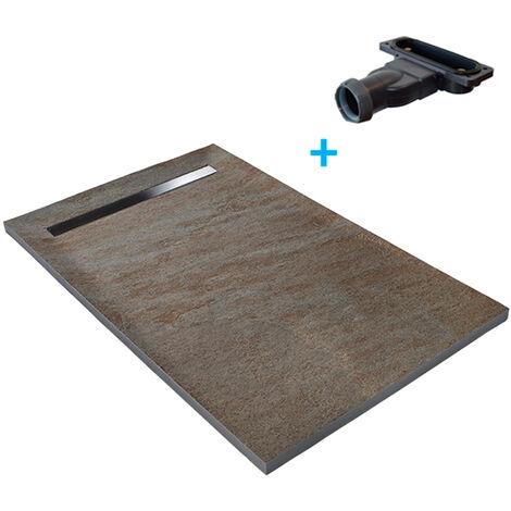 Receveur de douche caniveau en pierre naturelle 100 x 100 cm cuprus + natte étanche + siphon ultra plat