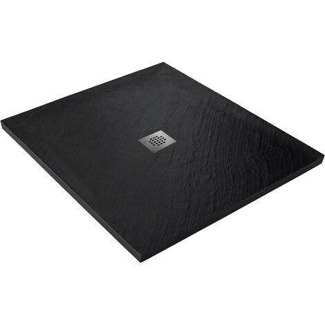 Receveur de douche en pierre naturelle 100 x 100 cm graphite + natte étanche + siphon 360°