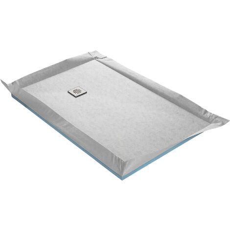 Receveur de douche à carreler ultra plat 90 x 90 cm x 22 mm + natte étanche + siphon ultra plat