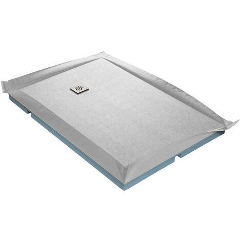 Receveur de douche à carreler compact 120 x 120 cm x 67 mm + natte étanche + siphon ultra plat