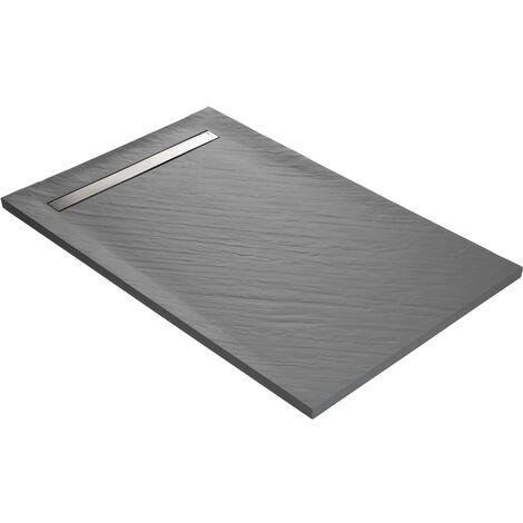 Receveur de douche caniveau en résine imitation pierre 140 x 90 cm gris taupe + natte étanche + siphon ultra plat