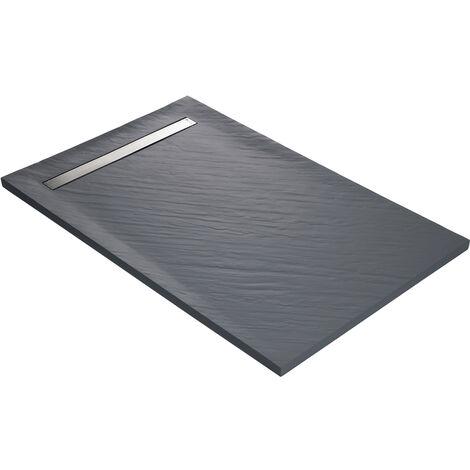 Receveur de douche caniveau en résine imitation pierre 120 x 90 cm gris ardoise + natte étanche + siphon ultra plat