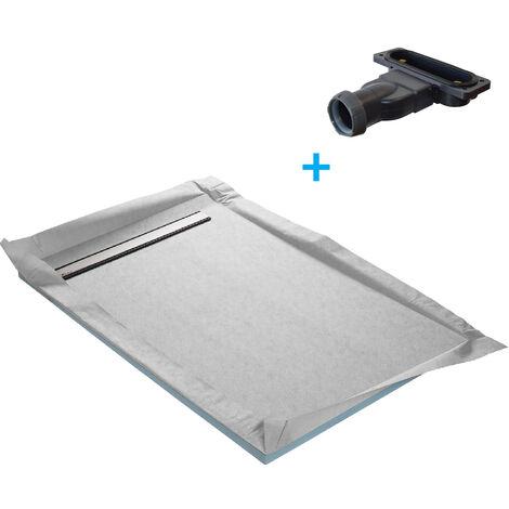 Receveur de douche à carreler monopente 120 x 90 cm + natte étanche + siphon ultra plat